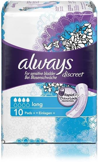 Picture of Always Discreet Sensitive Bladder Long Pads 10 Per Pack