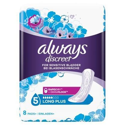 Picture of Always Discreet Incontinence, long Pads (Pads+) for women with sensitive bladder, 5 drops absorbency, 8 count