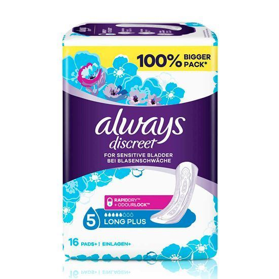 Picture of Always Discreet Long Sanitary Pads, 16 each
